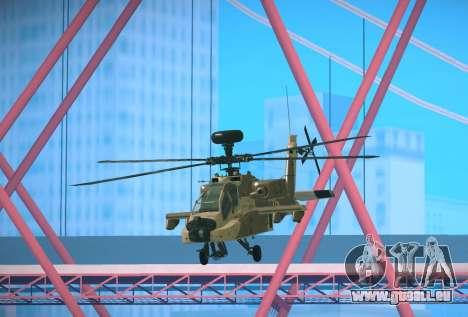 AH-64 Longbow Apache für GTA San Andreas zurück linke Ansicht