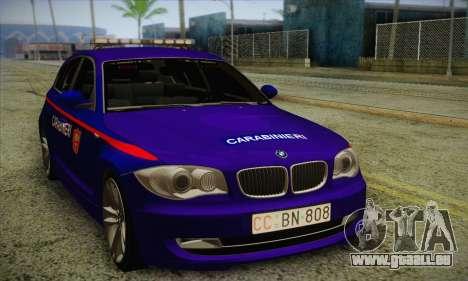 BMW 120i SE Carabinieri pour GTA San Andreas laissé vue