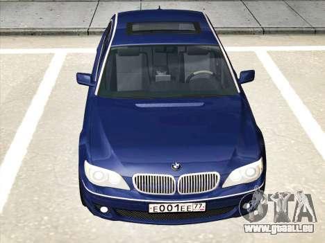 BMW 760Li für GTA San Andreas zurück linke Ansicht