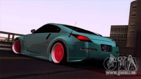 Nissan 350Z Minty Fresh pour GTA San Andreas vue de dessus