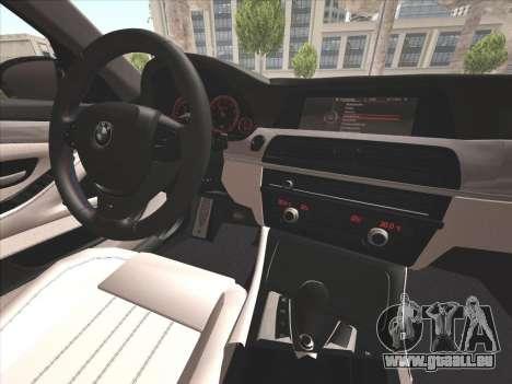 BMW M5 F10 2012 pour GTA San Andreas vue de dessus