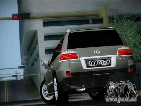 Lexus LX 570 2010 pour GTA San Andreas sur la vue arrière gauche