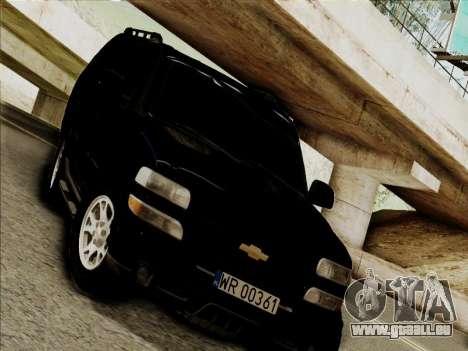 Chevrolet Suburban pour GTA San Andreas laissé vue