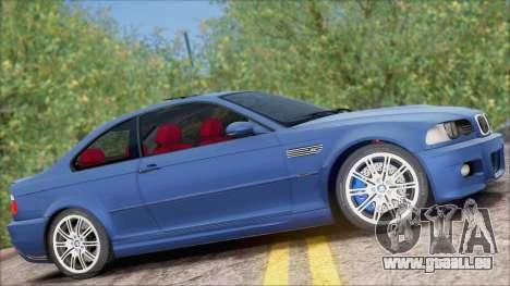 BMW M3 E46 2002 pour GTA San Andreas sur la vue arrière gauche