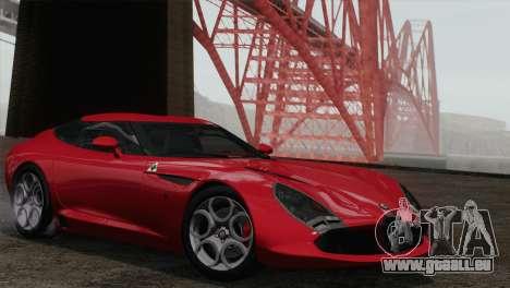 Alfa Romeo Zagato TZ3 2012 pour GTA San Andreas sur la vue arrière gauche