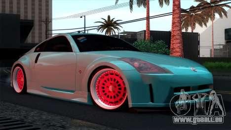 Nissan 350Z Minty Fresh pour GTA San Andreas vue de dessous