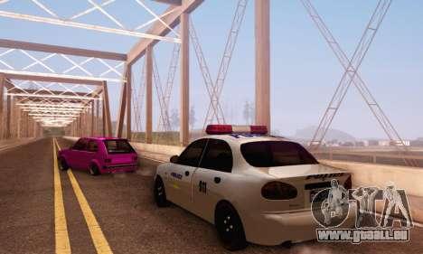 Daewoo Lanos Police pour GTA San Andreas sur la vue arrière gauche