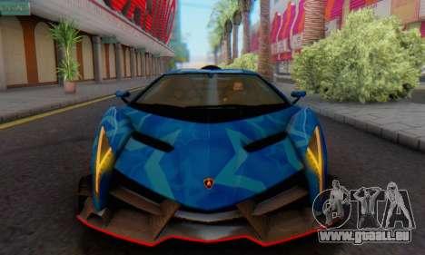 Lamborghini LP750-4 2013 Veneno Blue Star pour GTA San Andreas sur la vue arrière gauche