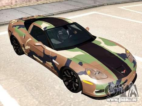 Chevrolet Corvette Grand Sport pour GTA San Andreas vue de dessous