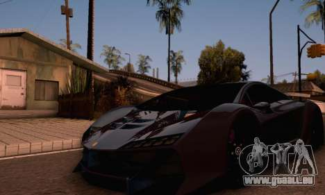 Pegassi Zentorno GTA 5 v2 für GTA San Andreas zurück linke Ansicht