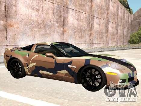 Chevrolet Corvette Grand Sport pour GTA San Andreas vue de dessus