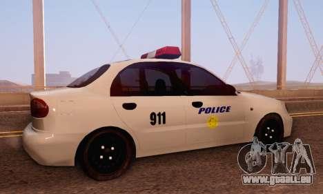 Daewoo Lanos Police pour GTA San Andreas vue de droite