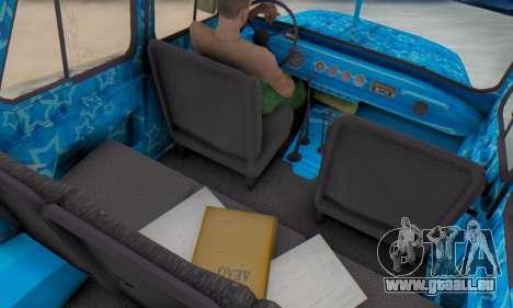 UAZ 469 Blue Star für GTA San Andreas Innenansicht