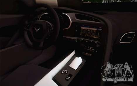 Chevrolet Corvette Stingray C7 2014 pour GTA San Andreas vue arrière
