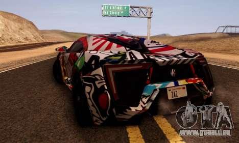 W-Motors Lykan Hypersport 2013 Stiker Editions für GTA San Andreas zurück linke Ansicht
