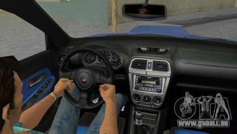 Subaru Impreza WRX STI 2005 pour une vue GTA Vice City de l'intérieur