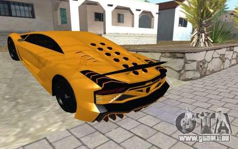 GTA 5 Zentorno pour GTA San Andreas sur la vue arrière gauche