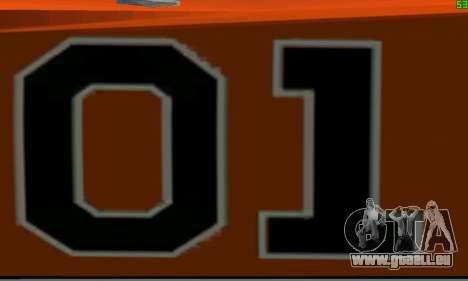 Dodge Charger General lee pour GTA San Andreas vue arrière