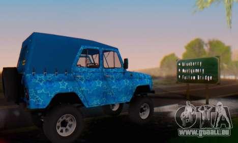 UAZ 469 Blue Star für GTA San Andreas obere Ansicht