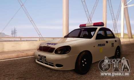 Daewoo Lanos Police pour GTA San Andreas laissé vue