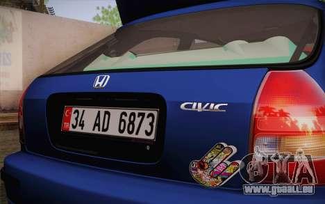 Honda Civic 1.4 BS Garage pour GTA San Andreas sur la vue arrière gauche