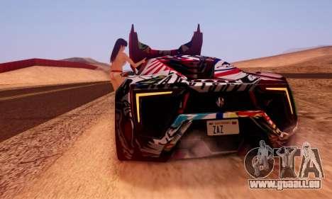 W-Motors Lykan Hypersport 2013 Stiker Editions pour GTA San Andreas laissé vue