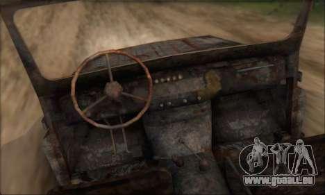Verbrannt UAZ 469 für GTA San Andreas rechten Ansicht