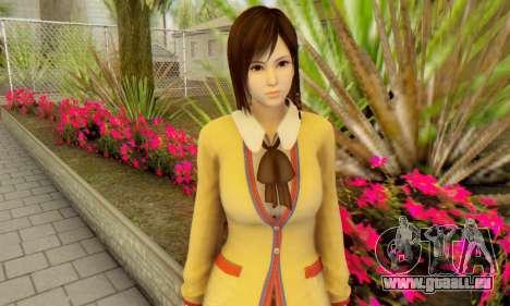 Kokoro wearing a school uniform (DOA5) für GTA San Andreas dritten Screenshot
