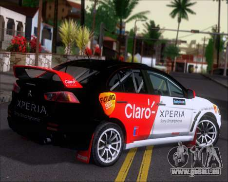 Mitsubushi Lancer Evolution Rally Team Claro für GTA San Andreas rechten Ansicht