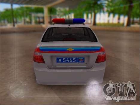 Chevrolet Aveo Police LNR pour GTA San Andreas vue intérieure