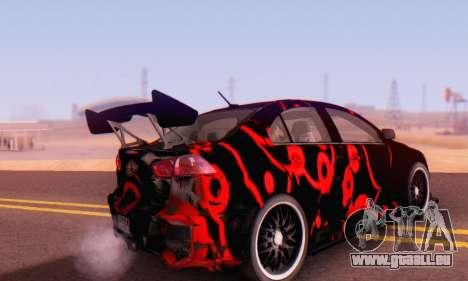 Mitsubishi Lancer EVO X Abstraction pour GTA San Andreas sur la vue arrière gauche
