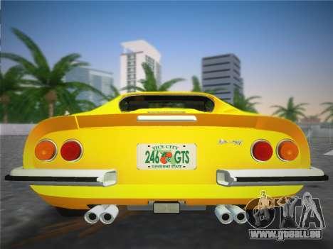 Ferrari 246 Dino GTS 1972 pour une vue GTA Vice City de l'intérieur