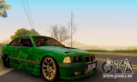 BMW M3 E36 Coupe Blue Star pour GTA San Andreas vue intérieure