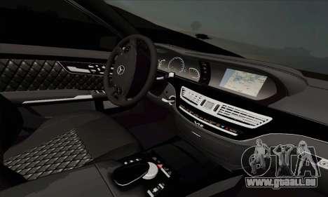 Mercedes-Benz S600 W221 2012 pour GTA San Andreas sur la vue arrière gauche