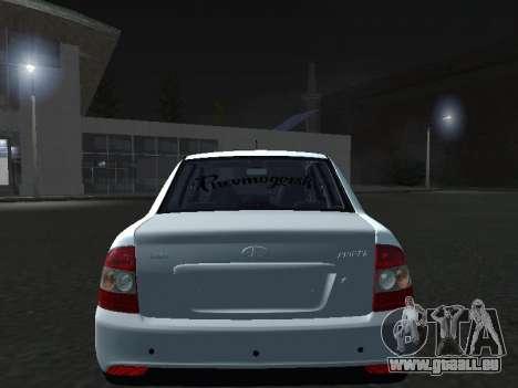 Ваз 2170 Pnevmogorsk pour GTA San Andreas vue arrière