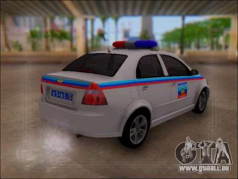 Chevrolet Aveo Police LNR pour GTA San Andreas vue de droite