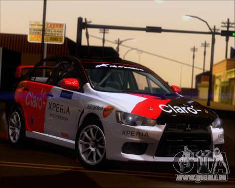 Mitsubushi Lancer Evolution Rally Team Claro für GTA San Andreas Innenansicht