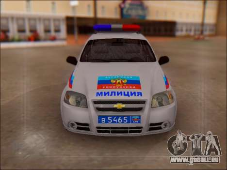 Chevrolet Aveo Police LNR pour GTA San Andreas vue arrière
