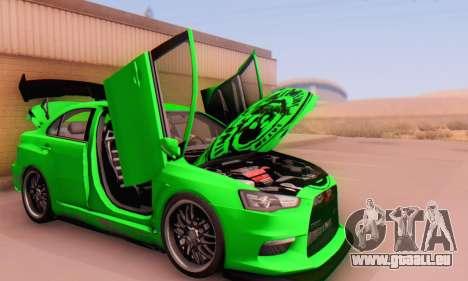 Mitsubishi Lancer Evolution X Metalhead für GTA San Andreas Rückansicht