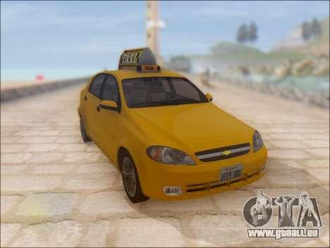Chevrolet Lacetti Taxi pour GTA San Andreas vue intérieure