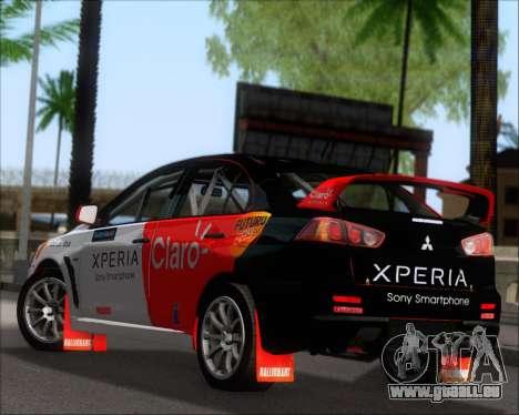 Mitsubushi Lancer Evolution Rally Team Claro für GTA San Andreas zurück linke Ansicht