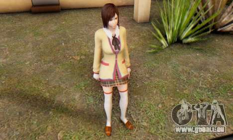 Kokoro wearing a school uniform (DOA5) für GTA San Andreas sechsten Screenshot