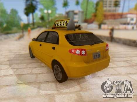 Chevrolet Lacetti Taxi pour GTA San Andreas sur la vue arrière gauche