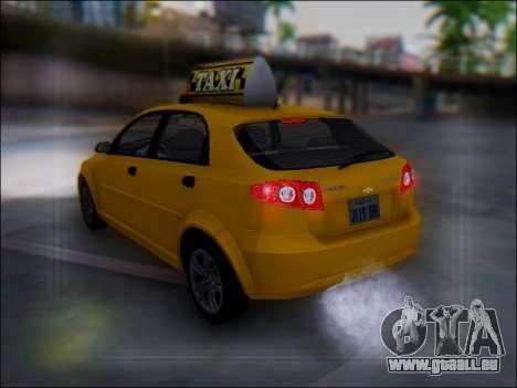Chevrolet Lacetti Taxi pour GTA San Andreas vue de dessous