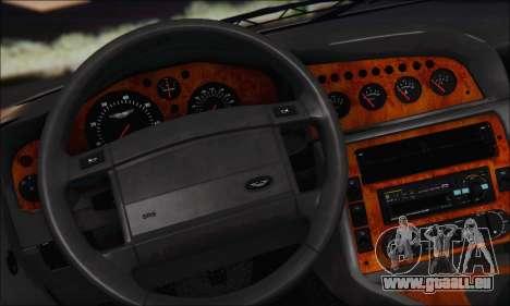 Aston Martin V8 Vantage V600 1998 pour GTA San Andreas vue intérieure