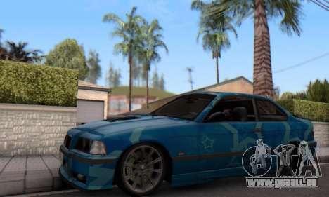 BMW M3 E36 Coupe Blue Star pour GTA San Andreas laissé vue