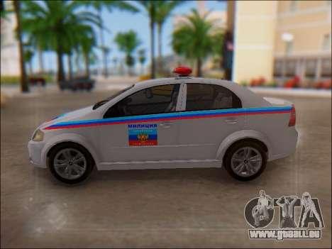 Chevrolet Aveo Police LNR pour GTA San Andreas vue de dessus