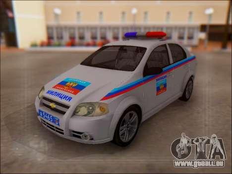 Chevrolet Aveo Police LNR pour GTA San Andreas vue de dessous