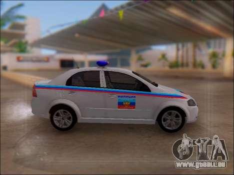 Chevrolet Aveo Police LNR pour GTA San Andreas laissé vue