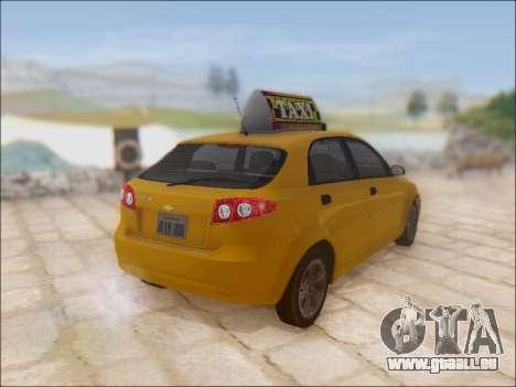 Chevrolet Lacetti Taxi für GTA San Andreas Rückansicht